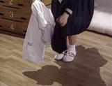 Adorable schoolgirl Rina Kougen gives head and fucks hard