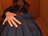 Sweet JP schoolgirl Airi Satou with glasses sucks a fat dick picture 13