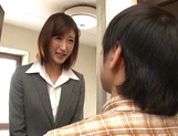 Naughty Japanese milf, Ichika Kanhata is aroused by her horny student picture 1