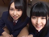 Two teen schoolgirls star in luscious blowjob picture 13