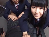 Two teen schoolgirls star in luscious blowjob picture 14