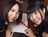 Two teen schoolgirls star in luscious blowjob picture 1