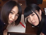 Two teen schoolgirls star in luscious blowjob picture 2