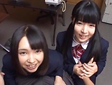 Two teen schoolgirls star in luscious blowjob picture 9