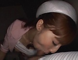 Hot elevator hostess Kaede Fuyutsuki gives head on the job