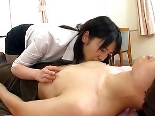 Sexy teacher sucking a huge cock pretty good