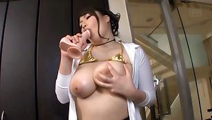 Voluptuous Asian milf Chitose Saegusa hard fucked with toys on cam