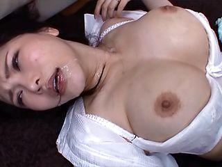 Big tit Japanese woman Anri Okita getting banged by three men gang