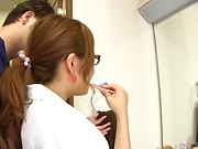 Nurse plays with cock in full Japanese oral porn show