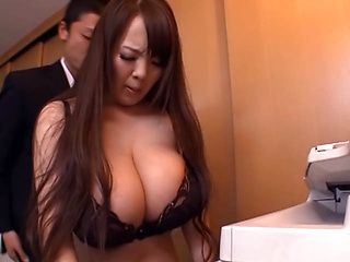 Office babe Hitomi with huge tits gets fucked from behind