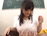 Busty babe Yatsuka Mikoto handles two cocks picture 13