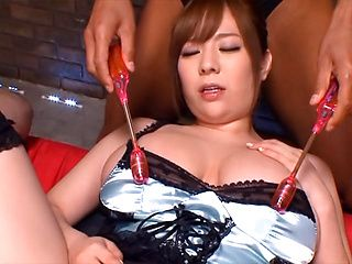 Juicy bombshell with huge boobs Ran Niiyama is teased by two horny guys