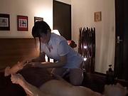 Hot Asian masseuse Mion Hatsuki milks a big hard dick
