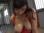 Miyabe Suzuka teases in her hot red lingerie before pleasuring herself