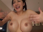 Big titted MILF Okina Anna has a naked work out