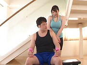 Chitose Saegusa hardcore sex with a younger hunk