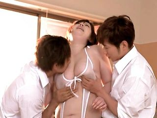 Busty milf Mayu Koizumi gets hard pounded in threesome