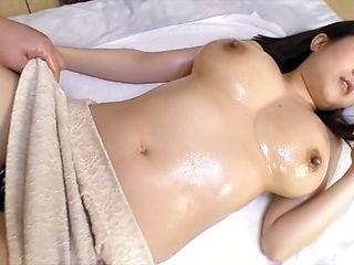 Appetizing Aoyama enjoying her melons caressed