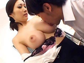 Mature teacher gives her student a hot tit fuck