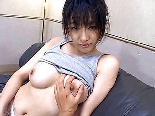 Big tit amateur JP Sakura Shiratori gets cummed all over her big tits