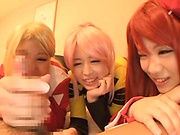 Japanese cosplay in POV with three naughty babes