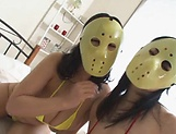 Masked Asian Tsukada Shiori and friend  sharing cock in naughty threesome picture 5