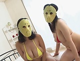 Masked Asian Tsukada Shiori and friend  sharing cock in naughty threesome picture 6