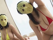 Masked Asian Tsukada Shiori and friend  sharing cock in naughty threesome