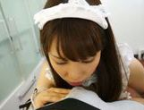 Beautiful Maid Ria Mikotori On Her Knees Sucking Dick picture 5