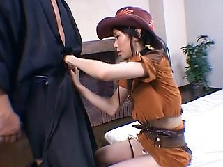 Adorable Asian cowgirl enjoys cosplay sex gets pounded hard