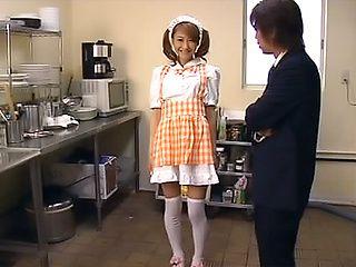 Asian house maid sucks cock and swallows warm jizz