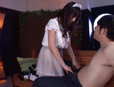 Hot teen in a costume of a maid  Arisa Misato licks cock and gets screwed