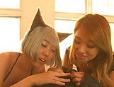 Naughty Japanese cosplay threesome on cam picture 11