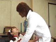 Asian nurse, Karen Ichinose lets patient fuck her brains out