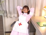Horny JP nurse Tsumiki Shindo fucks her hairy pussy with a toy