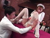 Sexy Japanese maid Moe Shinohara gets fucked on the table