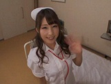 Adorable nurse in sexy stockings Shunka Ayami gives a blowjob
