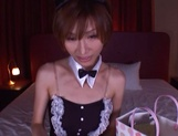 Elegant Asian milf in a sexy costume Akari Asahina deepthroats cock picture 12
