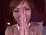 Elegant Asian milf in a sexy costume Akari Asahina deepthroats cock picture 13
