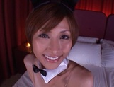 Elegant Asian milf in a sexy costume Akari Asahina deepthroats cock