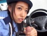 Cosplay loving teen Ran Usagi in police uniform sucks cock in car