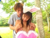 Asian babe in bunny costume, Mai Hagiwara sucks and fucks outdoors picture 11