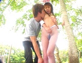 Asian babe in bunny costume, Mai Hagiwara sucks and fucks outdoors picture 13
