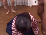 Lovely JP babe Tsumiki Shindo with pigtails gets some bukkake action picture 14