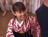 Lovely JP babe Tsumiki Shindo with pigtails gets some bukkake action