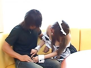 Japanese maid with big tits enjoys tasty dick in her vagina
