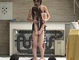 Busty Japanese AV model fucked in hard in public sex session picture 5