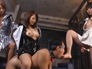 Kinky Tokyo schoolgirls arrange hardcore CFNM sex game and tease cock