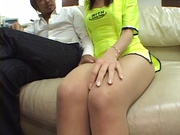 Kinky Japanese race queen, Risa Arisawa with tight ass experiences deep fucking