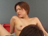 Busty Asian race queen Maki Hoshino likes tit squeezing and rides cock hard
